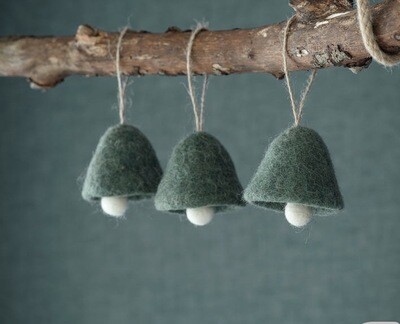 Handmade Hanging wool bells in Forest Green (set of 3)