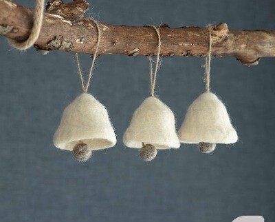 Handmade Hanging wool bells in warm white