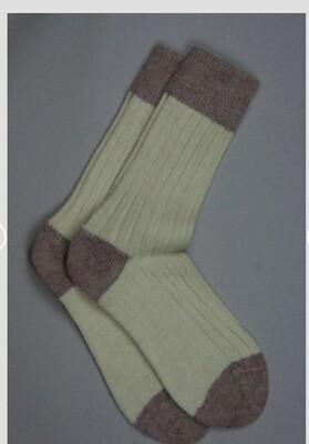 Alpaca Bed Socks Cream with Raspberry