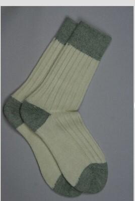 Alpaca Bed Socks Cream with Jade