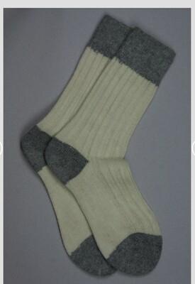 Alpaca Bed Socks Cream with grey