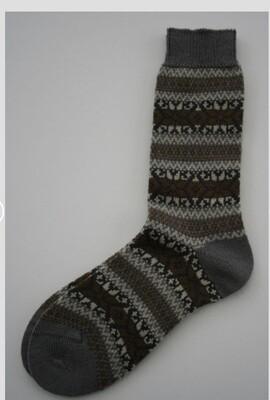 The Frome Fairisle Winter Socks Khaki