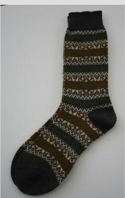 The Frome Fairisle Winter Socks Olive (4-7)