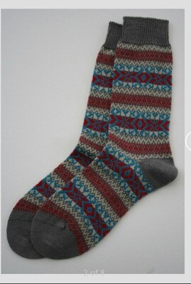 The Frome Fairisle Winter Socks Blue Madder (4-7)