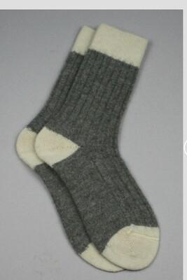 Alpaca Bed Socks Grey with Cream