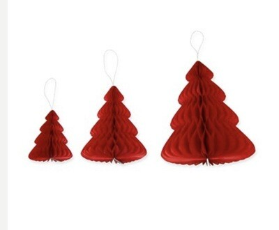 Paper trees (set of three) Red