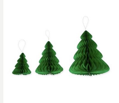 Paper trees (set of three) Green