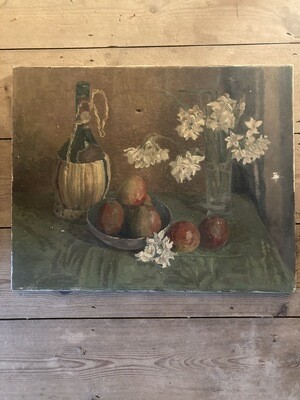 Old oil with white flowers