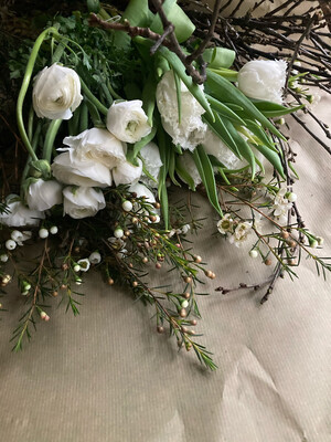 The White Ranunculus,  White Fringed Tulip & Wax Flower Box