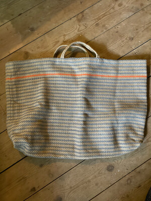 The Market 'Giant Jute' Bag in Blue/orange striped