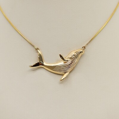 Swimming Whale Pendant with Chain