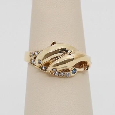 Diamond & Gemstone Dancing Dolphin Ring