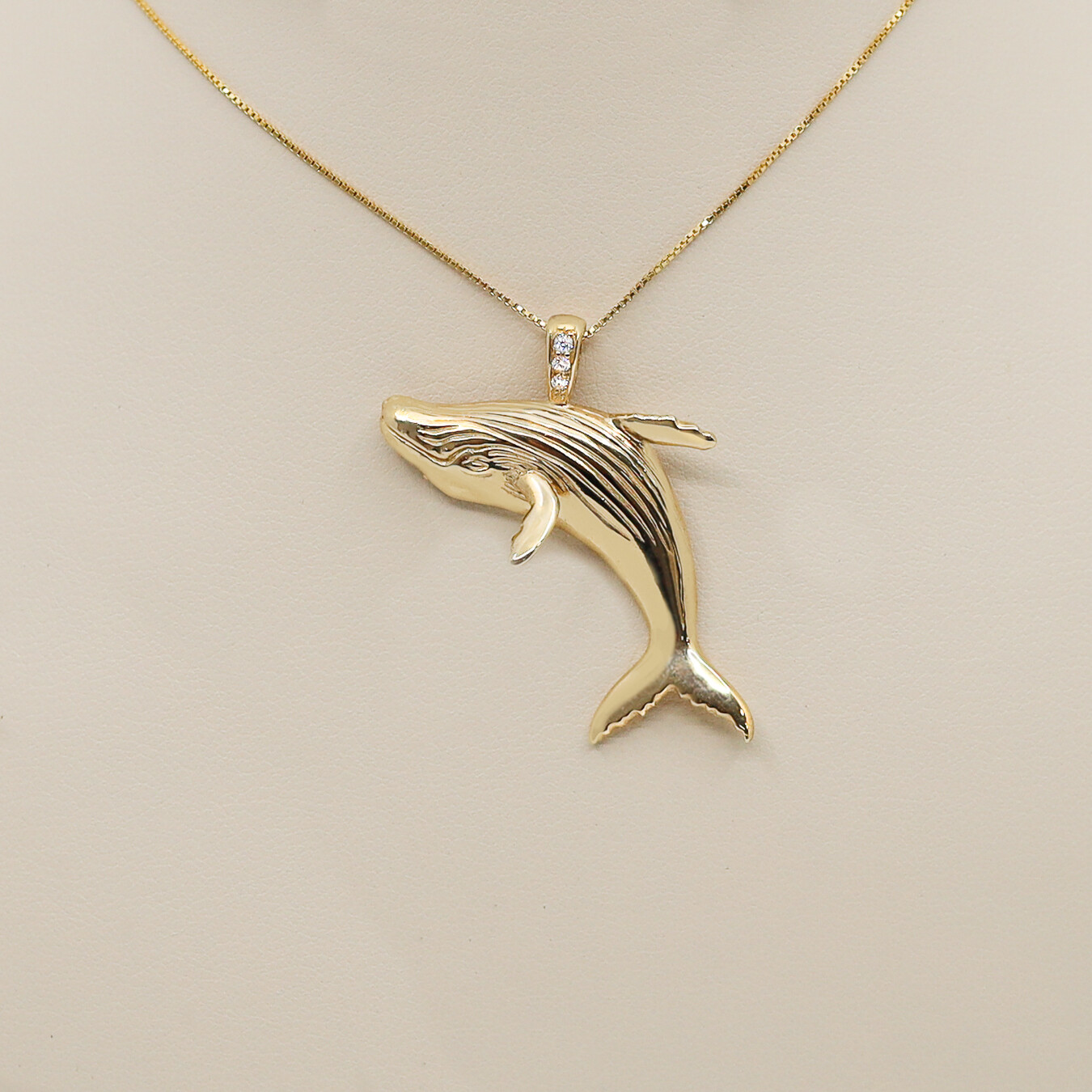 Breaching Whale Pendant with Diamonds