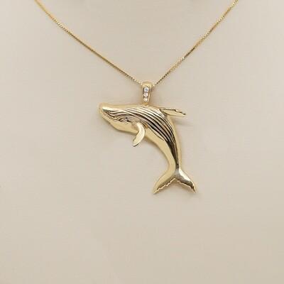 Breaching Whale Pendant with Diamonds