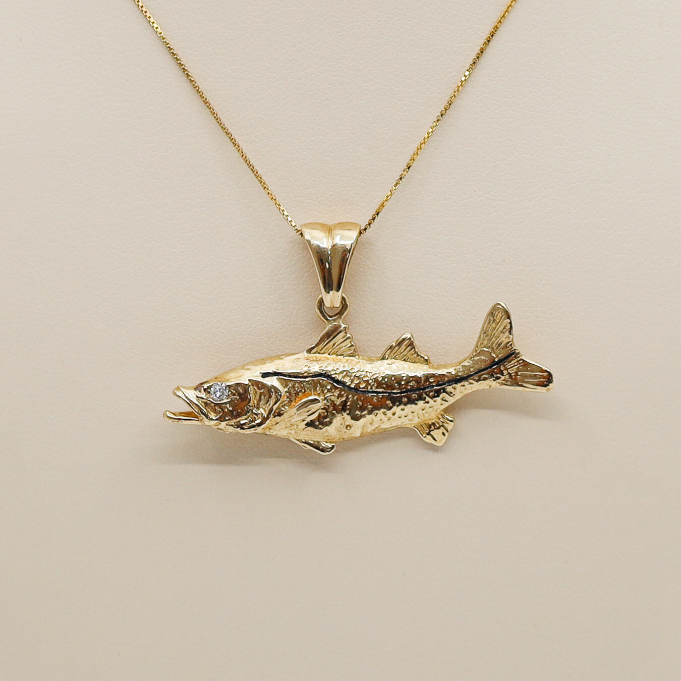 Snook Fish Pendant with Diamond