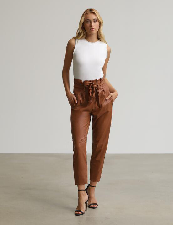 FAUX LEATHER PAPERBAG PANTS COCOA
