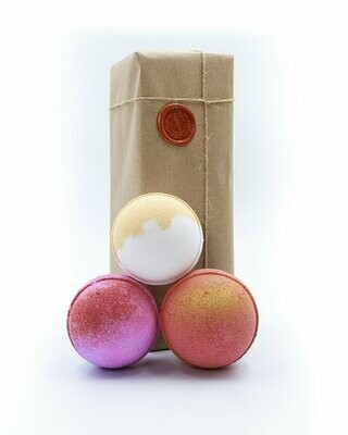 Strawberry Champagne, Lemon zest , Midnight Pomegranate Bath Bomb Gift Set