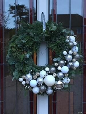 Contemporary White & Silver Luxury Christmas Door Wreath