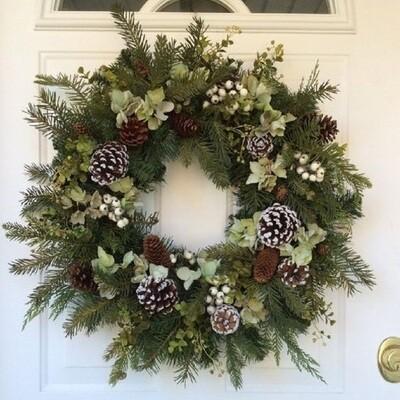 DIY Christmas Wreath Kit - Foliage, Pine Cones & Bow