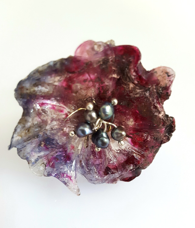 Bague réglable, Fleur Rouge et Perles Culture