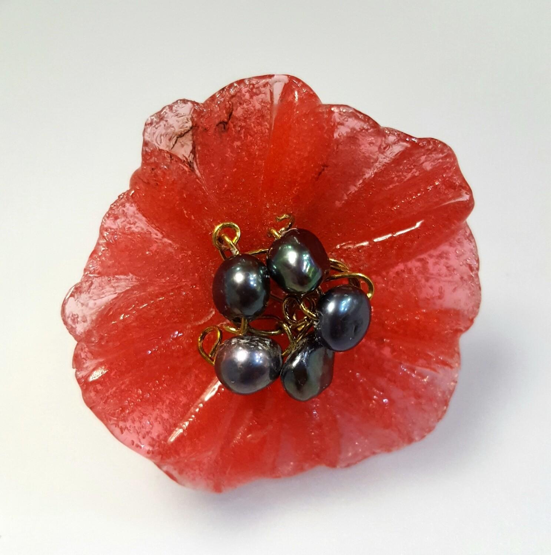 Bague réglable, Fleur Coquelicot et perles de culture