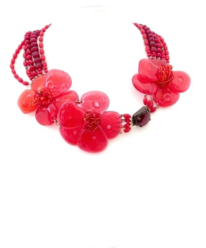 Collier Haute Couture, Anémone rouge et Pierres Fines