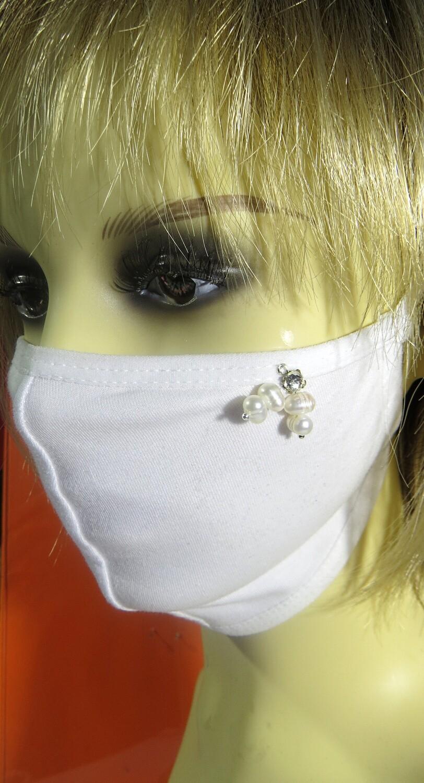 Masque coton et perles de culture blanches