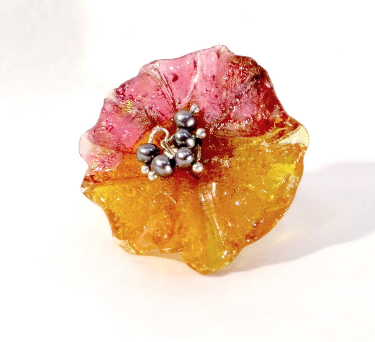 Bague réglable, Fleur Orange et Perles de Culture