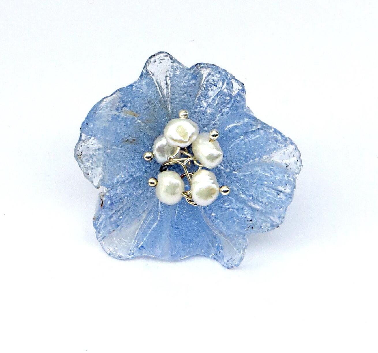 Bague réglable, Fleur Bleu ciel et Perles de Culture