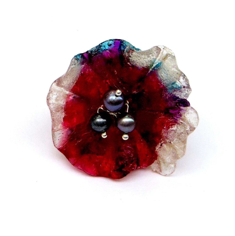 Bague réglable, Fleur Rouge et Perles de Culture