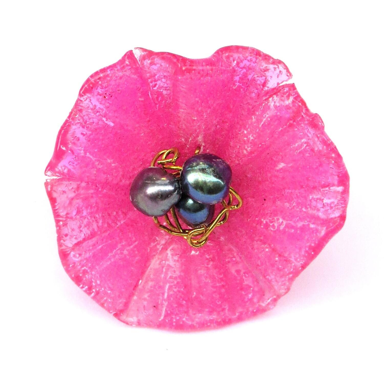 Bague réglable, Fleur Rose et Perles de Culture