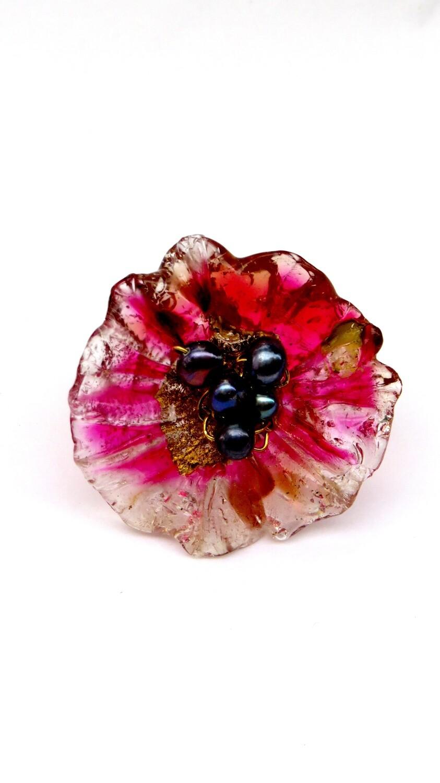 Bague réglable, Fleur Fuchsia et Perles de Culture
