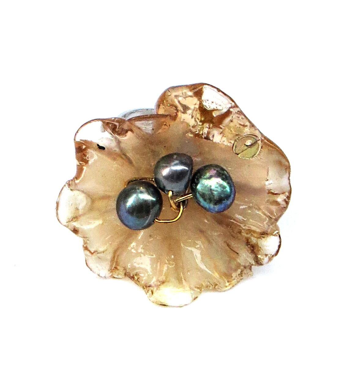 Bague réglable, Fleur Miel et Perles de Culture
