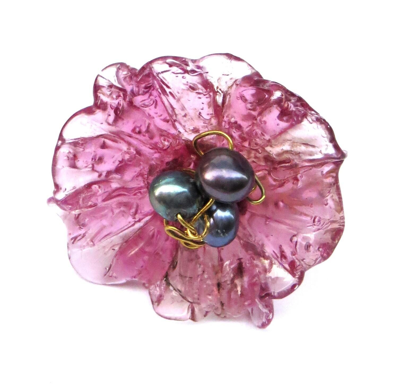 Bague réglable, Fleur Violette et Perles de Culture