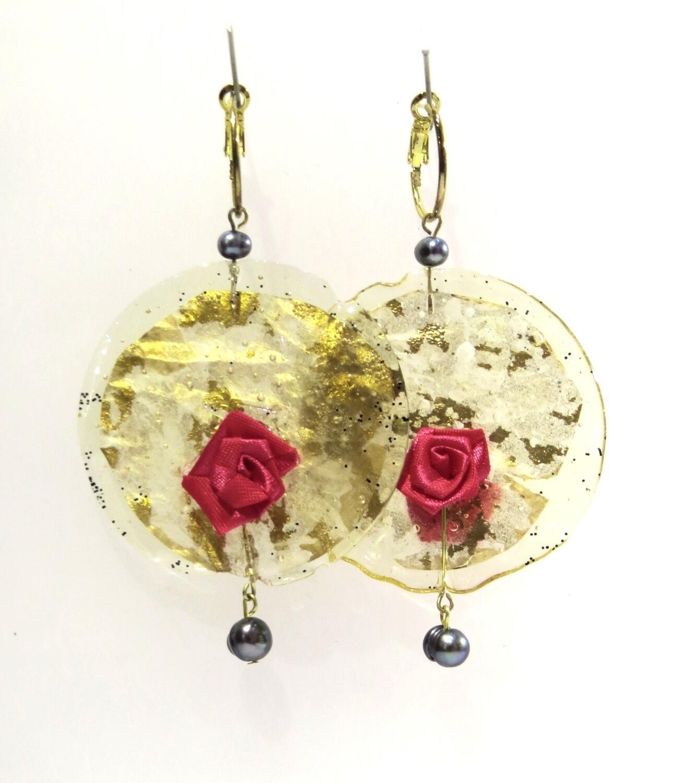 """Boucles Oreilles """"Rose de soi"""" Translucide Or et Perles de Culture"""