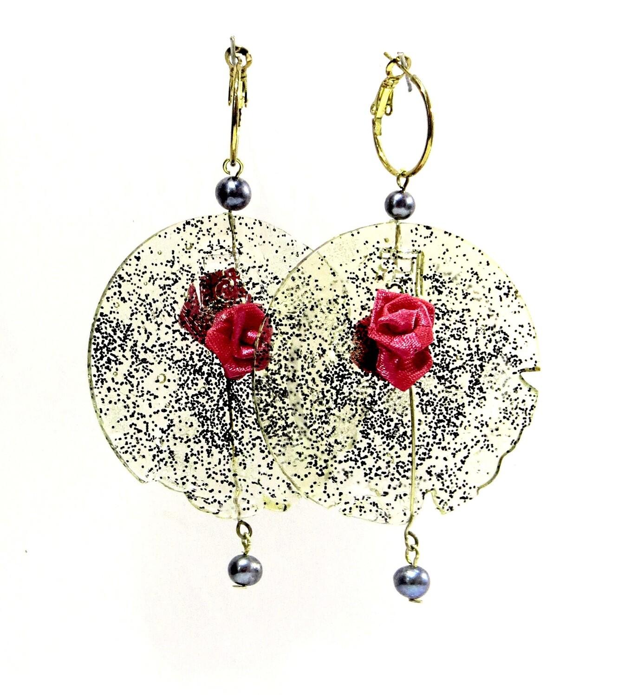 """Boucles Oreilles  """"Rose de soi"""" Cristal, et Perles de Culture"""