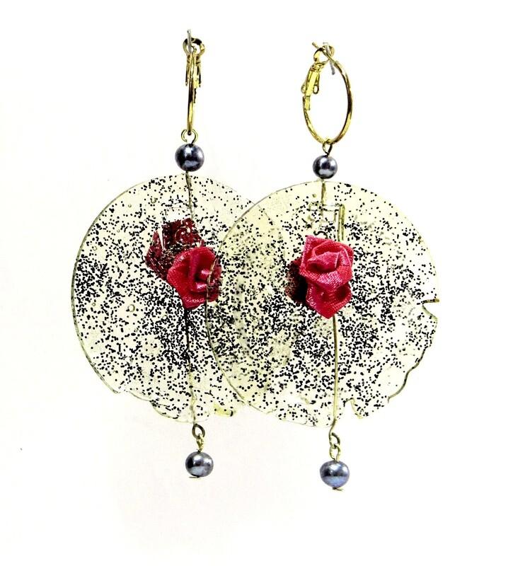 Boucles Oreilles Cercle, Rose rouge et Perles de Culture