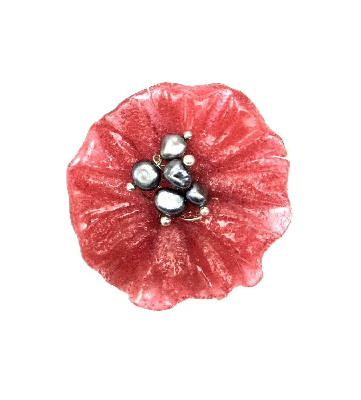 Broche Fleur Coquelicot Rouge et Perles de Culture