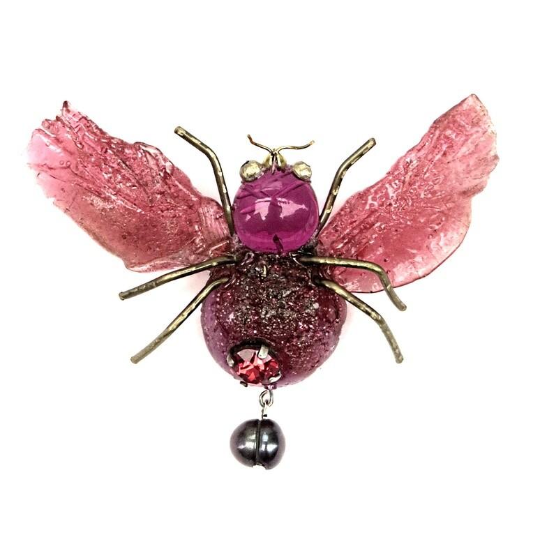 Broche Insecte et Perle de Culture