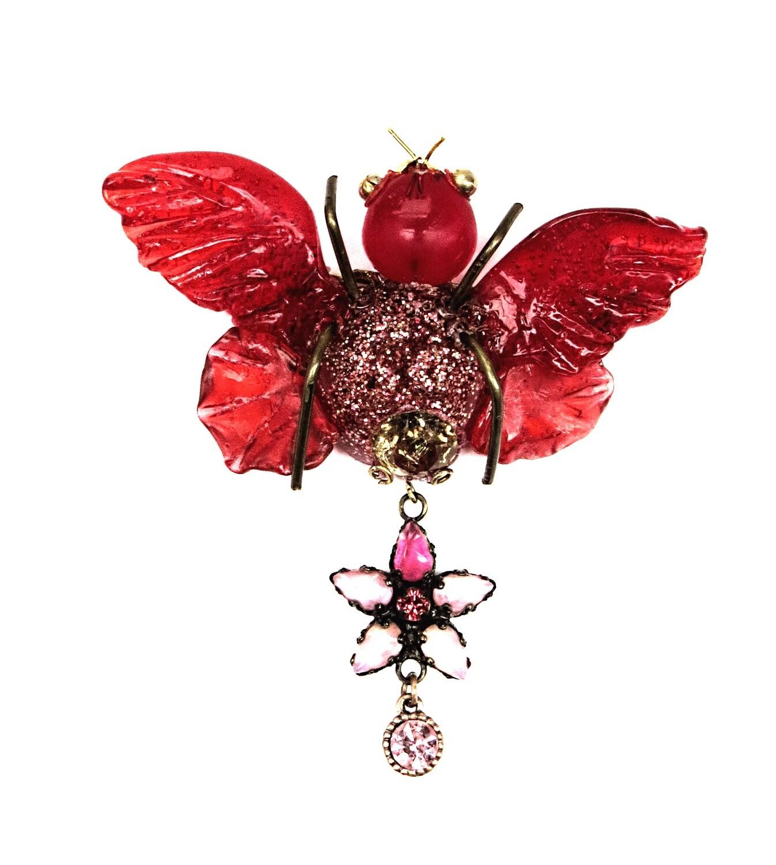 Broche Insecte Rouge et Strass Swarovski
