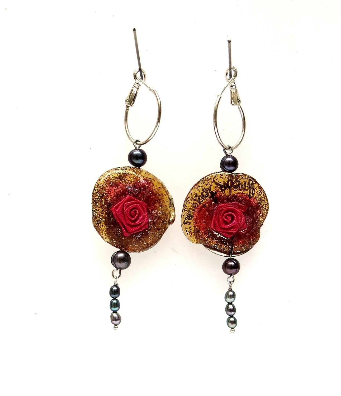 """Boucles Oreilles """"Rose de soi"""" Orange et Perles Culture"""