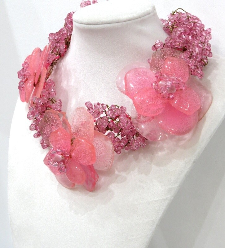 Collier Haute couture Anémone rose saumon