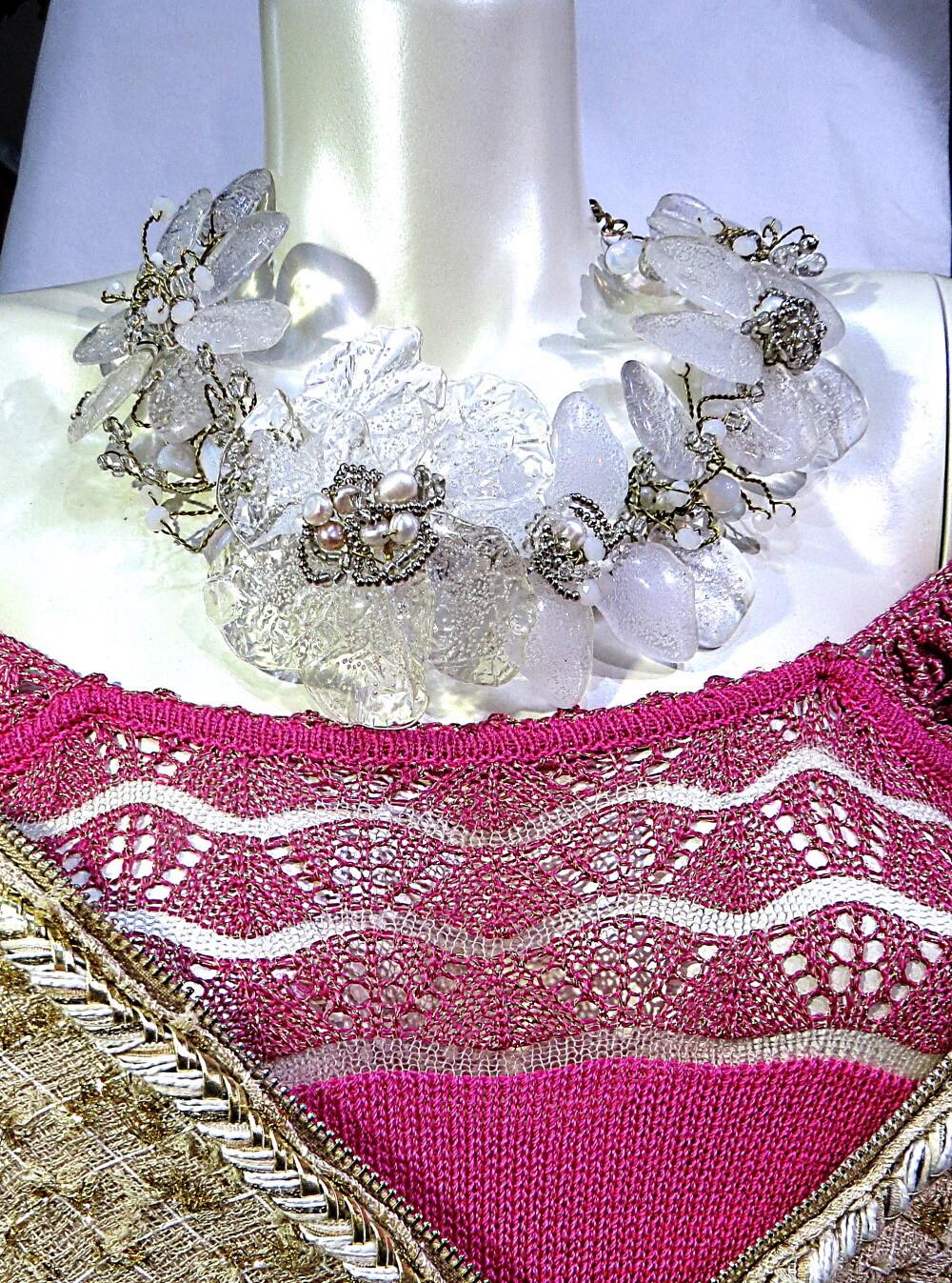Collier Haute Couture Cristal et perles de culture