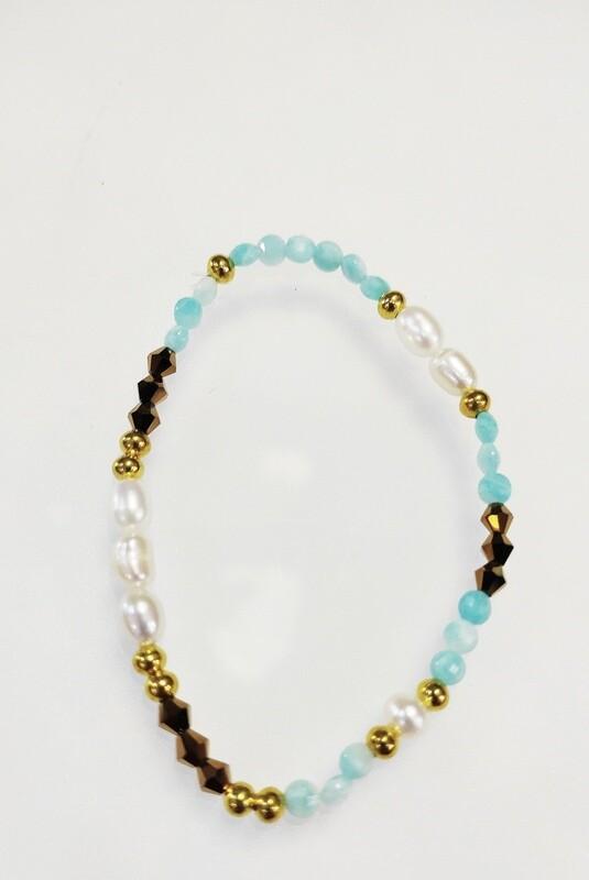 Bracelet Perles de culture et amazonite