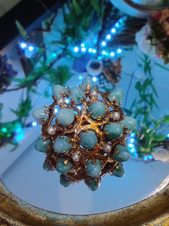 Broche bleu turquoise