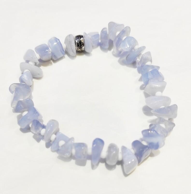 Bracelet Calcédoine Bleue