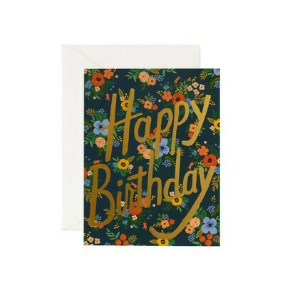 Happy Birthday Card - Foil Flowers