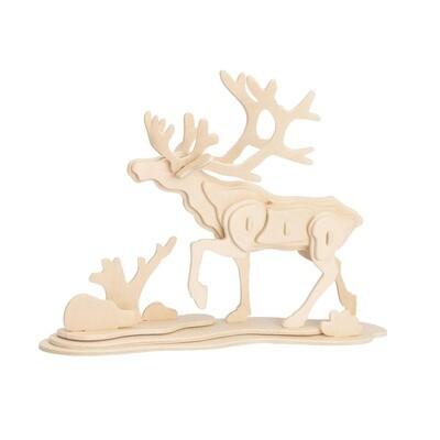 JP274, 3D Wooden Puzzle: Reindeer