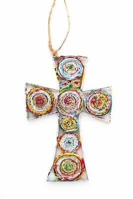 Recycled Paper Broad Cross Ornament