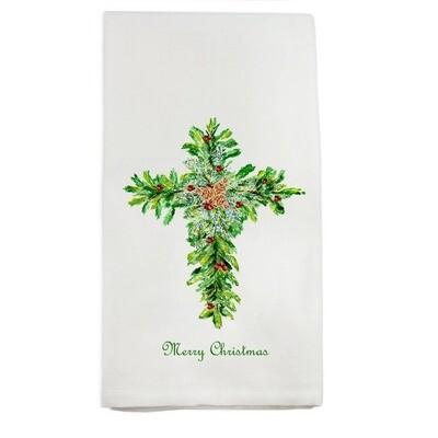 Christmas Cross with Red Berries Dishtowel
